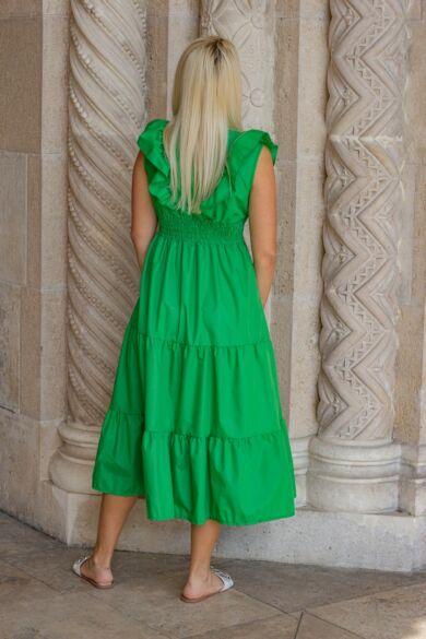 Amelya zöld fodros maxi-ruha