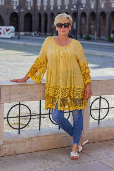 Liliana mustár sárga csipkés felső