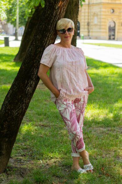 Isabella púder színű madeira csipke felső