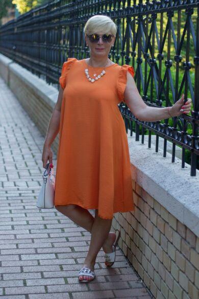 Lizi narancs színű A vonalú ruha
