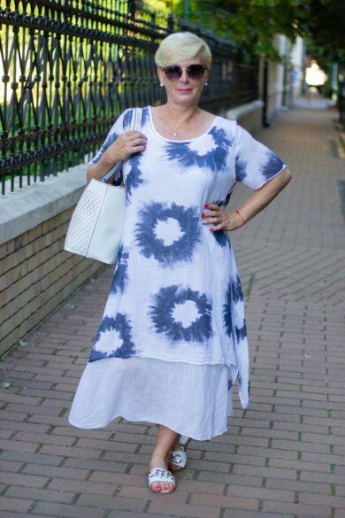 Fehér batikolt géz ruha