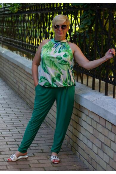 Lívía ujjatlan, zöld mintás, nyakrésznél kötős, alján gumírozott felső