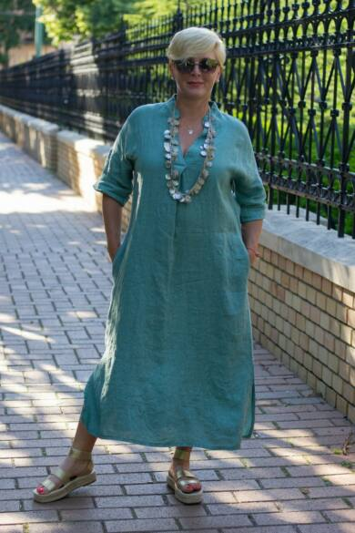 Menta zöld maxi len ruha