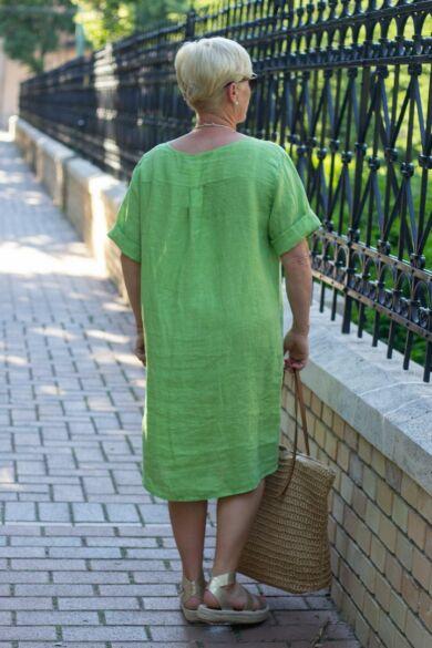 Zöld  len tunika-ruha