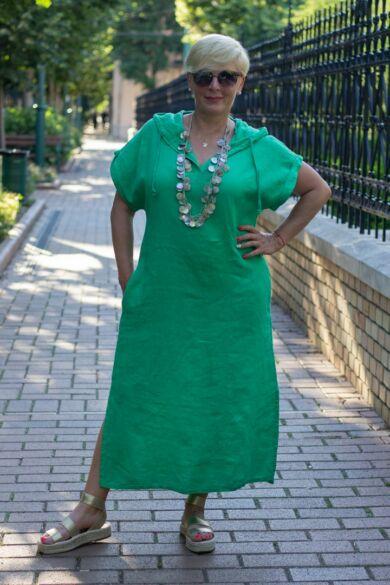 Zöld kapucnis len maxi ruha