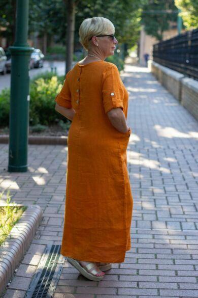 Narancs színő maxi len ruha