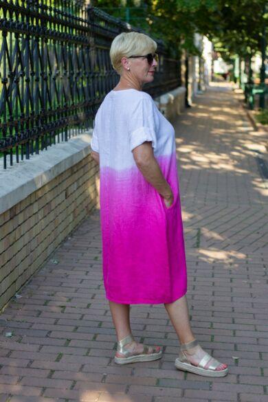 Hélia pink szín átmenetes len ruha