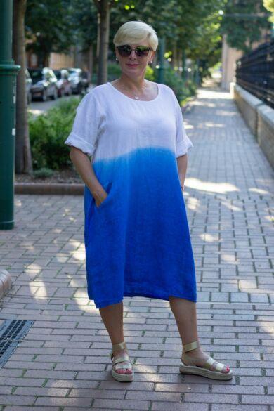 Hélia kék szín átmenetes len ruha