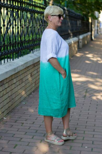 Hélia zöld szín átmenetes len ruha