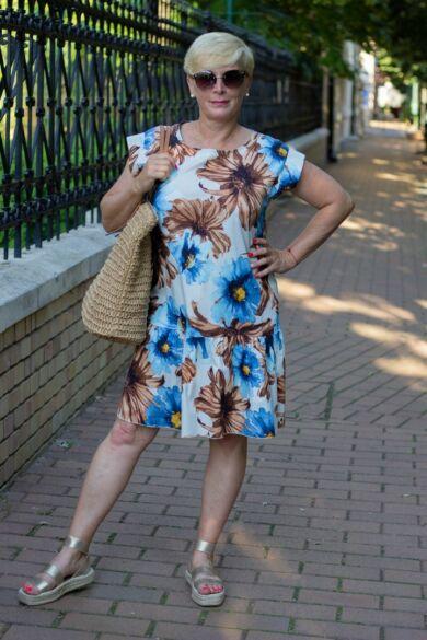Dorina kék-barna virágos ruha
