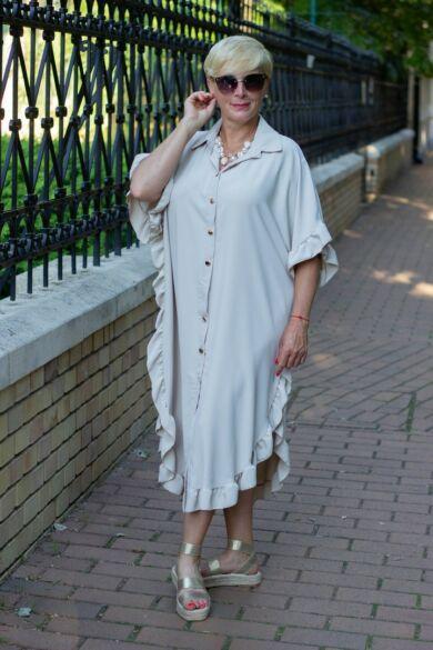 Eliza bézs színű laza stílusú ruha
