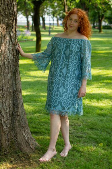 Adele zöld csipkeruha