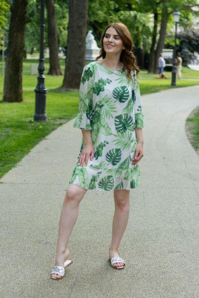 Zőld levél mintás muszlin ruha