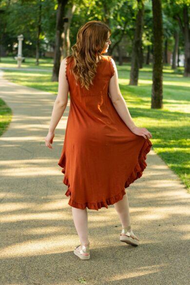 Írisz rozsda színű A vonalú pamut ruha