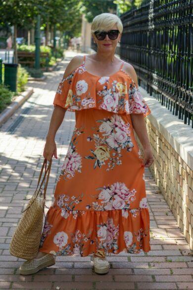 Laura narancs alapon virágos maxi ruha