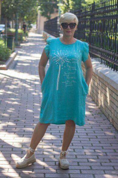 Türkíz zöld színű, oldal zsebes len tunika-ruha