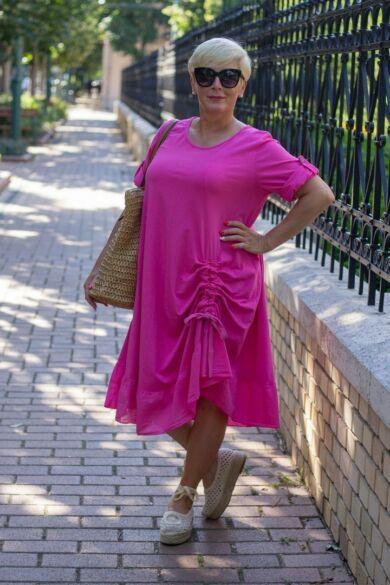 Pink színű pamut fodros ruha