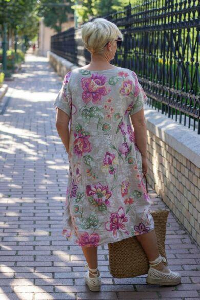 Bézs szín alapon virágos, zsebes len ruha