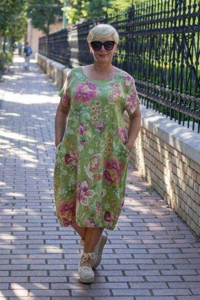 Zöld szín alapon virágos, zsebes len ruha