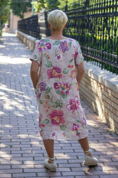 Púder szín alapon virágos, zsebes len ruha