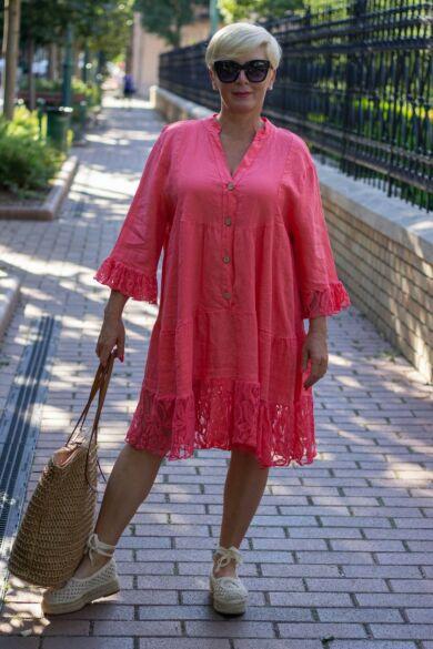 Lora korall színű fodros len csipkés ing-ruha