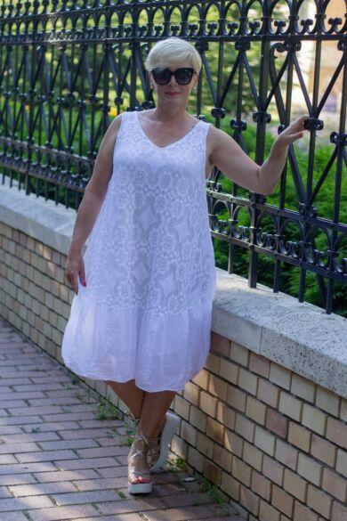 Zoé fehér ujjatlan A vonalú csipke ruha