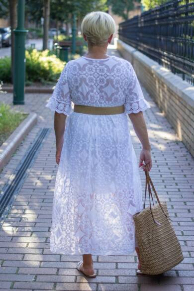 Jázmina fehér maxi csipke ruha
