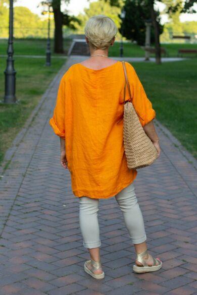 Narancsszínű len laza stílusú felső