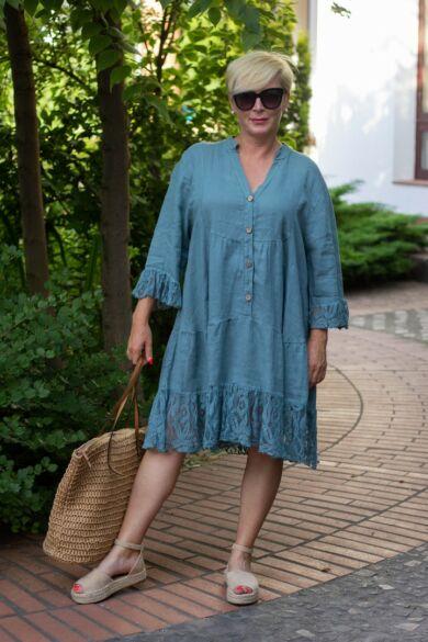 Lora zöld színű fodros len csipkés ing-ruha