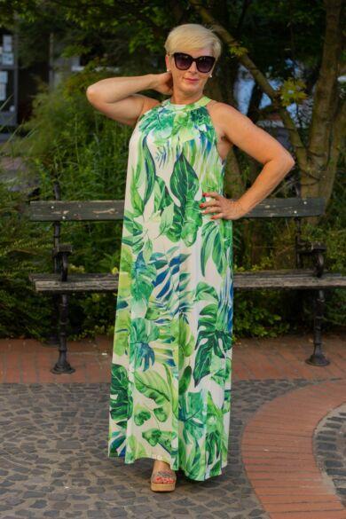 Lily egzotikus levél mintás maxi ruha