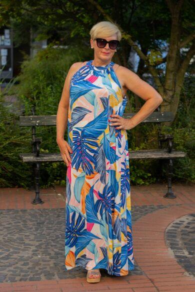Lily egzotikus kék levél mintás maxi ruha