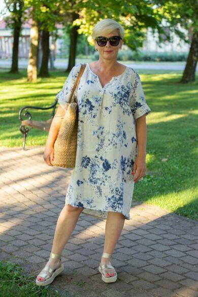 Bézs szín alapon virágos len tunika-ruha