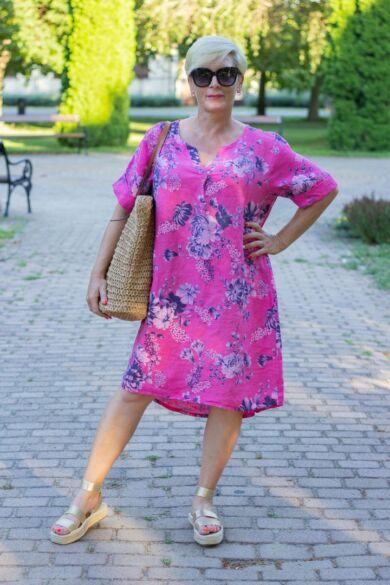 Pink szín alapon virágos len tunika-ruha