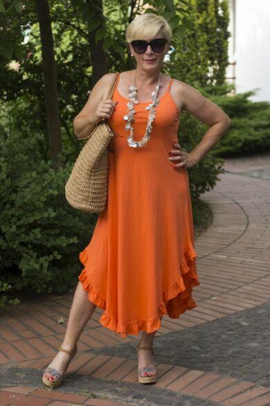 Narancs színű pántos pamut A vonalú ruha