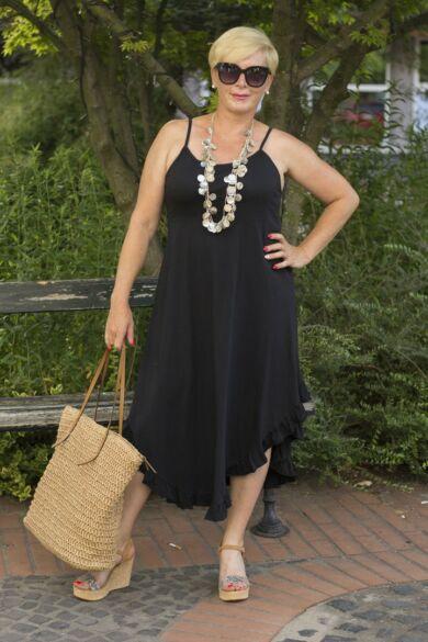 Fekete pántos pamut A vonalú ruha