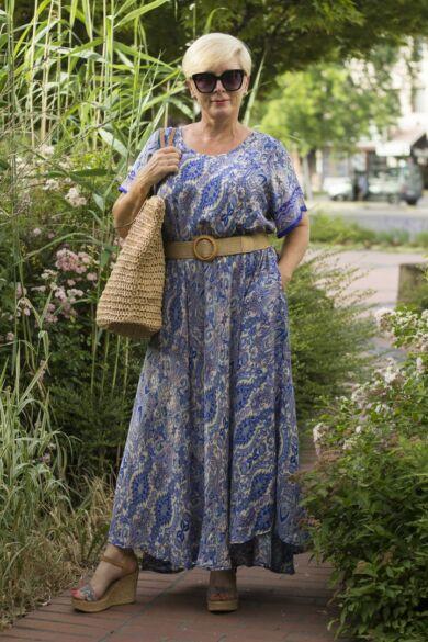 Jázmina kék mintás A vonalú maxi selyem ruha