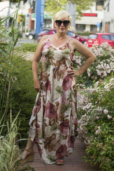 Imola szatén virág mintás maxi ruha