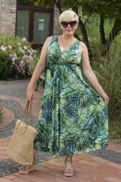 Leijla zöld egzotikus levélmintás ruha