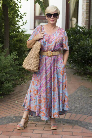 Jázmina narancs-kék mintás A vonalú maxi selyem ruha