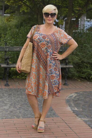 Kék - narancs mintás A vonalú selyem ruha