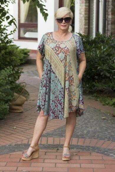 Menta zöld - pink  mintás A vonalú selyem ruha