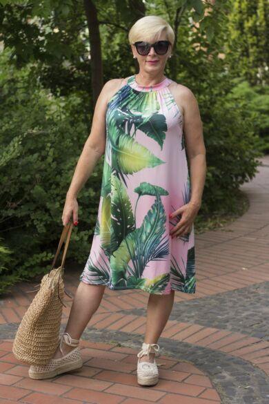 Kiara púder alapon zöld leveles ruha