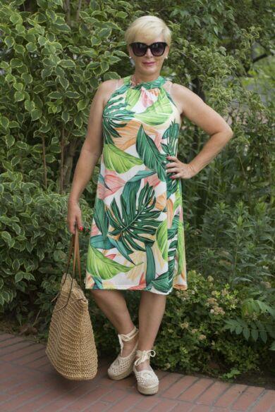 Kiara narancs-zöld leveles ruha