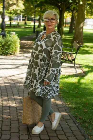 Zöld - fehér mintás fodros tunika-ruha