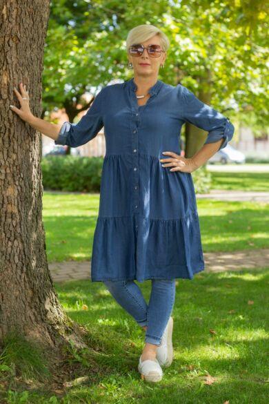 Vékony farmer-vászon fodros tunika-ruha
