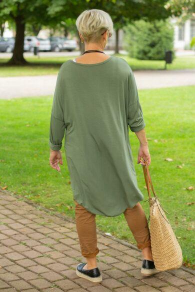 Mocca khaki zöld pamut tunika