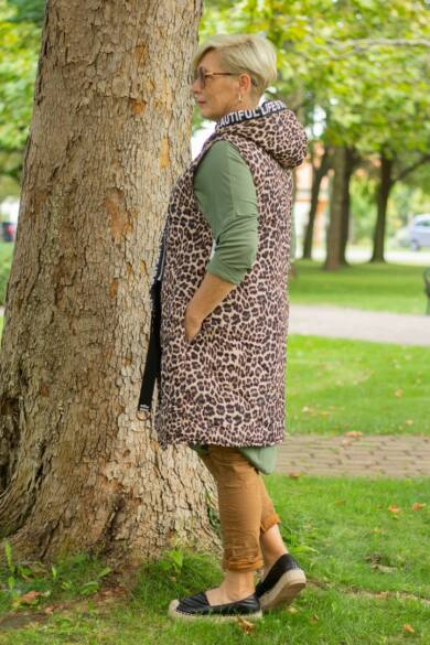 Sento barna leopárd mintás mellény