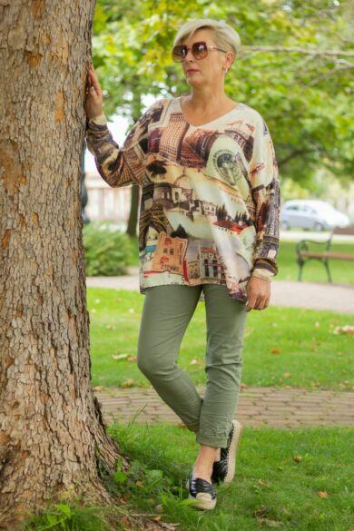 Khaki zöld színű, gumírozott derekú rugalmas pamut-vászon nadrág