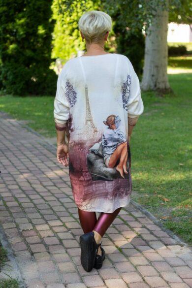 Dia laza stílusú vékony kötött pulóver