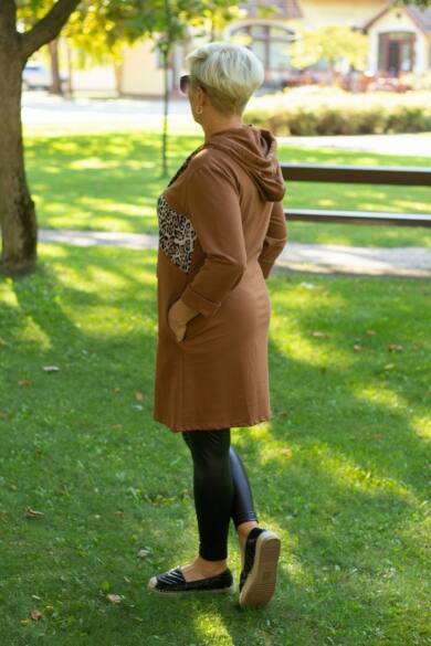 Nona rozsda színű kapucnis tunika